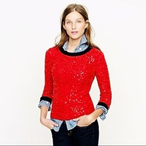 J Crew Scattered Sequin Red Crew Neck Sweater S